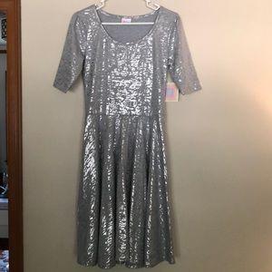Lularoe  silver metallic swing dress